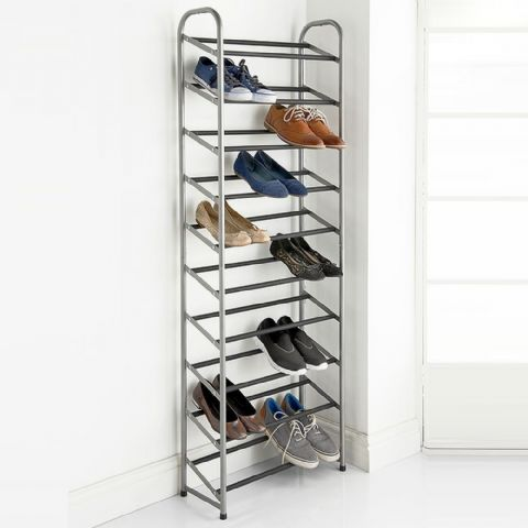 High 10 Tier Metal Shoe Storage Organiser Rack